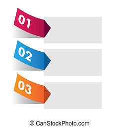 mærkaten, infographic, tre, farverig