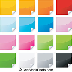 mærkaten, postit, sæt, farverig