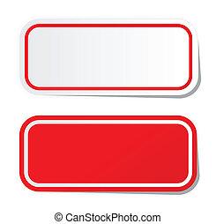 mærkaten, rød, blank