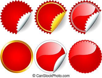 mærkaten, sæt, rød