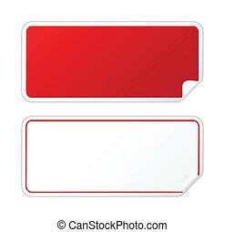 mærkaten, sort rød