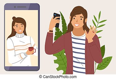 møde, video, har, kammerat, smartphone., hidkalde, hende, virtuelle, bruge, konversation, kvinde