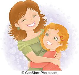mødre, illustration., hils, dag