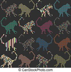 mønster, abe, seamless