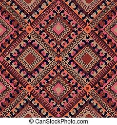 mønster, abstrakt, seamless, hand-drawn, etniske