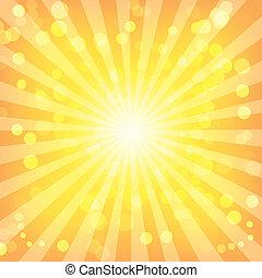mønster, abstrakt, sunburst, bokeh, lys