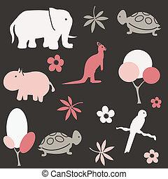 mønster, børn, seamless, dyr