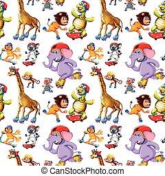 mønster, begreb, seamless, dyr