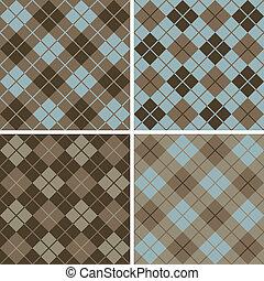 mønster, blue-brown, argyle-plaid