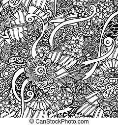 mønster, doodle, retro, sort, seamless, baggrund, blomstrede, hvid