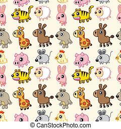 mønster, dyr, seamless