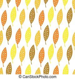 mønster, efterår, baggrund., blade, seamless