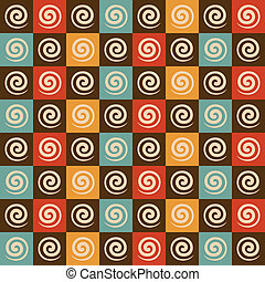 mønster, firkantet, retro, spiral