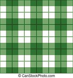 mønster, glatte, plaid, grønnes hvide