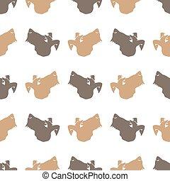 mønster, hund, dyr, seamless
