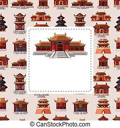 mønster, hus, seamless, cartoon, kinesisk