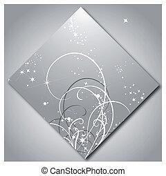 mønster, lysende, stjerner, baggrund, sølv