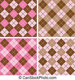 mønster, plaid-argyle