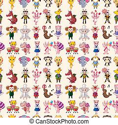 mønster, seamless, dyr