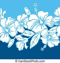 mønster, seamless, hibiscus, hybrid