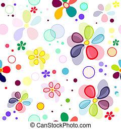 mønster, seamless, vivid, blomstrede