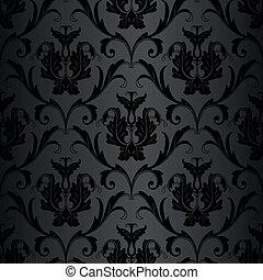 mønster, tapet, sort, seamless