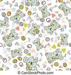 mønster, vektor, seamless, dyr