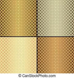 mønstre, sæt, seamless, (vector), metallisk