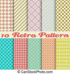 mønstre, (tiling), retro, forskellige, seamless, ti, vektor