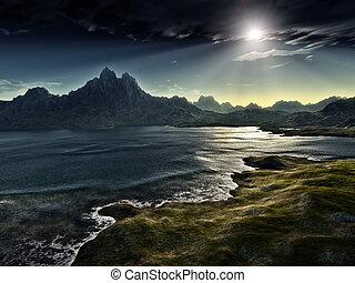 mørke, fantasien, landskab