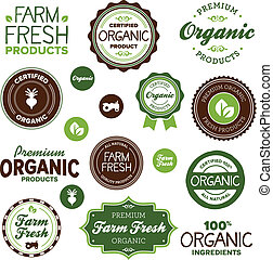 mad, etiketter, organisk