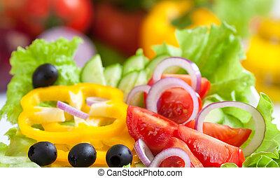 mad, grønsag, frisk, salat, sunde