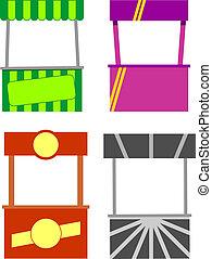 mad, kiosk., gade, cart, båse
