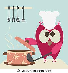 madlavning, cute, ugle, brøl