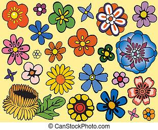 mageløs, blomster, adskillige