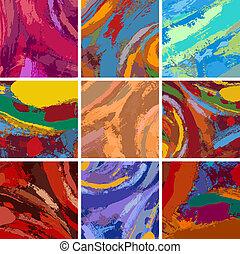 maleri, abstrakt, sæt formgiv, baggrund