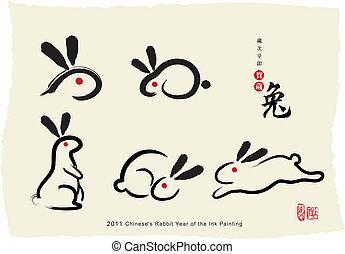 maleri, chinese's, kanin, blæk