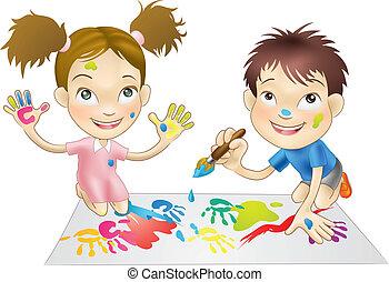 malinger, spille, børn, unge, to