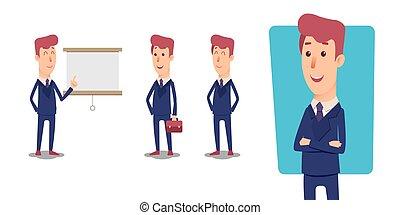managers., sæt, kontor, character., vektor, forretningsmand, cartoon