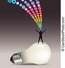 mand, ide, begreb, lightbulb