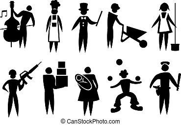 mand, ikon, sæt, professionel, vektor