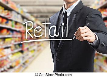 mand, retail, glose, firma, skrift