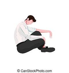 mand, sørgelige, illustration