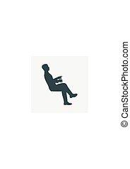 mand sidde, silhuet