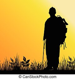 mand, silhuet, illustration, natur