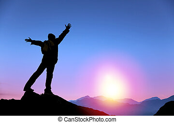 mand, solopgang, bjerg, iagttage stå, top, unge