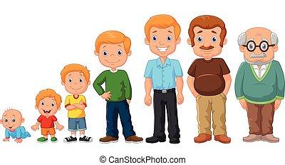 mand, stages, udvikling, cartoon