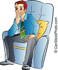 mand, stol, blød, illustration, siddende