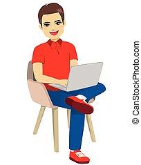 mand, stol, laptop, siddende