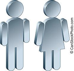 mandlig, 3, kvindelig, metallisk